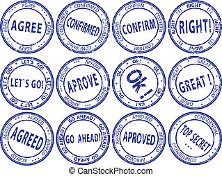 Set of round business stamps - vector