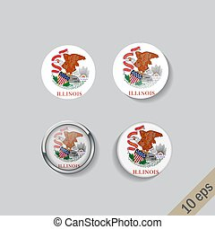 Set of round buttons with the image of Illinois state flag on gray background with shadow.