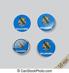 Set of round buttons with the image of Oklahoma state flag on gray background with shadow.