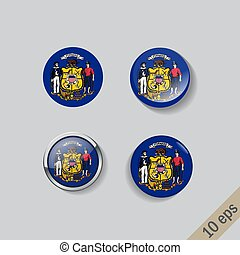 Set of round buttons with the image of Wisconsin state flag on gray background with shadow.