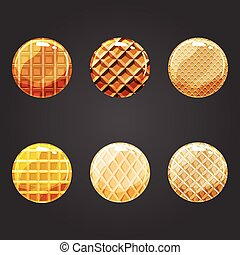 Set of round buttons with waffle texture