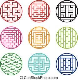 Set of round Chinese pattern window frame