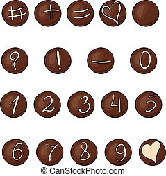 Set of round chocolate sweets with numbers