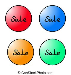 set of round colorful sale tags. Vector graphics