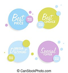 Set of Round colorful vector shapes. Abstract vector banners. Material Design elements