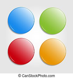 Set of round colorfull web buttons isolated on light background. Glossy badges, magnets. Vector Illustration.