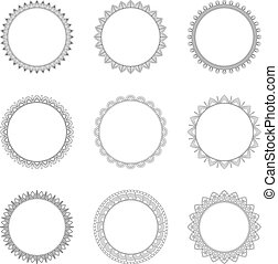 Set of round decorative frames, vector illustration