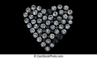 Set of round diamond  shape of heart