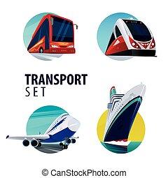 Set of round emblems with bus, train, plane, ship