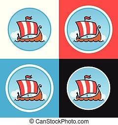 Set of Round Emblems with Drakkars