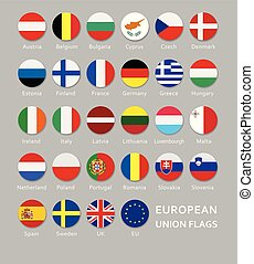 Set of round European Union flags buttons