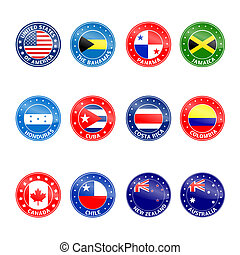 Set of Round Flags