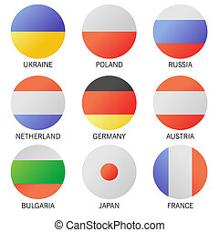 Set of Round Flags world top states. illustration.
