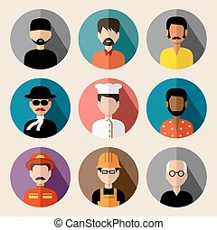 Set of round flat icons with men. vector illustration -...