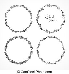 Set of round floral decorative frames. Circular patterns