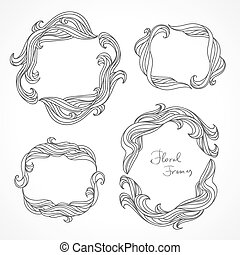 Set of round floral decorative frames