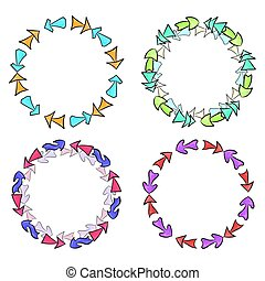 Set of round frames from hand drawn multicolored different arrows