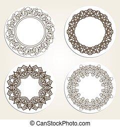 Set of  round frames in luxury style. Eastern motifs.