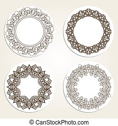 Set of  round frames in luxury style. Eastern motifs.
