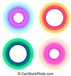 Set of round frames made of multicolored blocks with place for text.