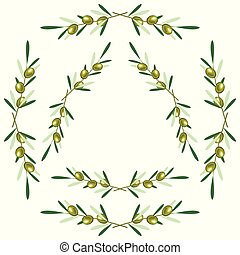 Set of round frames - olive branches. White background