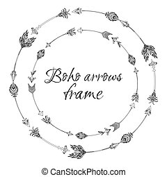 Set of round frames with a boho arrows with different tips and plumage.