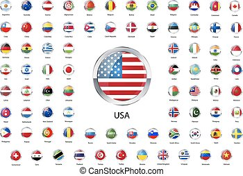 Set of round glossy icons with metallic border of flags of world sovereign states