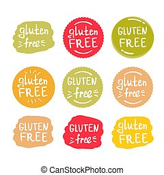 set of round green labels with text gluten free