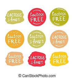 set of round green labels with text lactose free