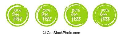 Set of round green sugar free labels. Vector illustration.