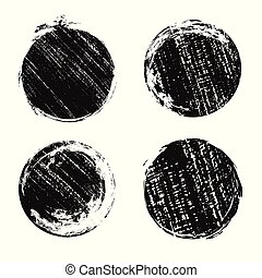 Set of round grunge banners with scratches. Ink prints.
