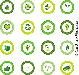 Set of round icons filled with bio eco environmental symbols...