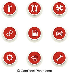 set of round icons for car service