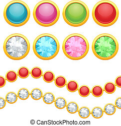 Set of round jewelery buttons and seamless chain.