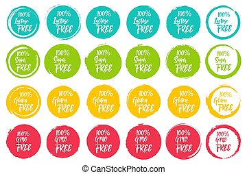 Set of round labels with text - lactose free, sugar free, gluten free, gmo free. Grunge circles shapes for text