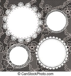 Set of round lacy doilies.