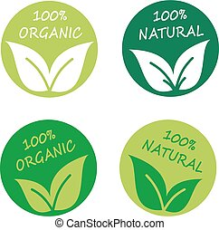 Set of round natural or organic logos with leaves
