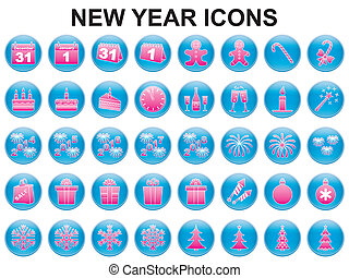 New Year holiday icons
