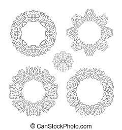 set of round ornament frames