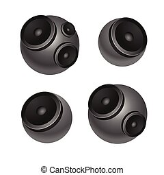 Set of round speakers isolated on white