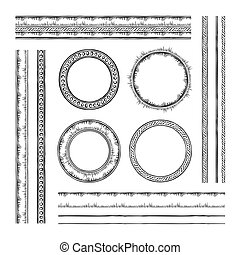 Set of round vector frames and borders. Rope and dotted designs. Collection of brushes to design frames, borders and dividers. The brushes included