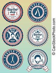 Set of round vintage colored barber
