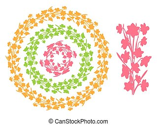 Set of round vintage floral borders, circle frames from narcissus flowers silhouettes.