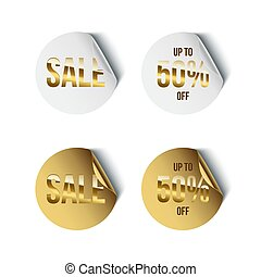 Set of round white and golden badges with golden Sale word and Up To 50 percent Off text isolated on white background. Vector promotion design elements.