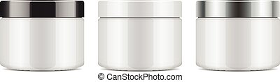 Set of round white plastic jar with lid for cosmetics. Vector mockup template