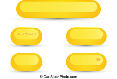 Set of round yellow buttons