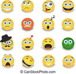 set of round yellow emoticons