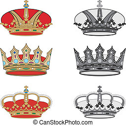 Set of royal crowns.