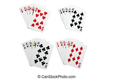 Set of royal flush cards for poker
