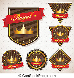 set of royal labels with retro vintage styled design